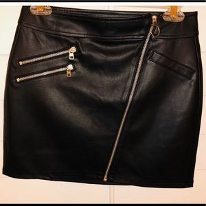 Express leather skirt with zipper detail